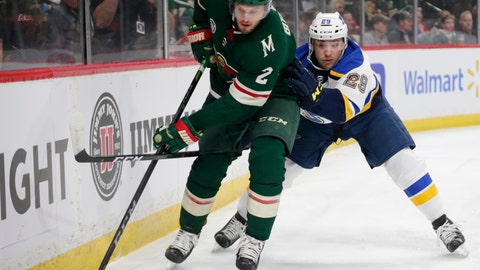 <p>               Minnesota Wild defenseman Anthony Bitetto controls the puck against St. Louis Blues defenseman Vince Dunn (29) in the first period of a NHL hockey game Sunday, Feb. 24, 2019, in St. Paul, Minn. (AP Photo/Andy Clayton-King)             </p>