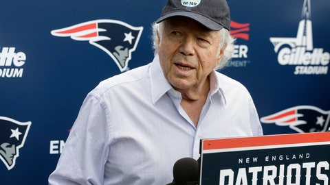 <p>               FILE - In this June 7, 2018, file photo, New England Patriots owner Robert Kraft speaks with reporters following an NFL football minicamp practice, in Foxborough, Mass. Police in Florida have charged New England Patriots owner Robert Kraft with misdemeanor solicitation of prostitution, saying they have videotape of him paying for a sex act inside an illicit massage parlor.  Jupiter police told reporters Friday, Feb. 22, 2019, that the 77-year-old Kraft has not been arrested. (AP Photo/Steven Senne, File)             </p>