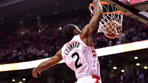 <p>               Toronto Raptors forward Kawhi Leonard dunks against the San Antonio Spurs in the final minute of an NBA basketball game Friday, Feb. 22, 2019, in Toronto. (Frank Gunn/The Canadian Press via AP)             </p>
