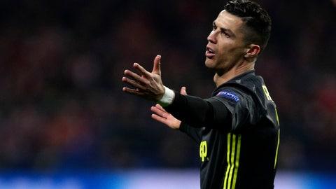 <p>               Juventus forward Cristiano Ronaldo reacts during the Champions League round of 16 first leg soccer match between Atletico Madrid and Juventus at Wanda Metropolitano stadium in Madrid, Wednesday, Feb. 20, 2019. (AP Photo/Manu Fernandez)             </p>