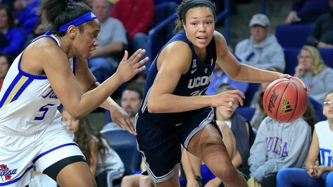 <p>               Connecticut's Napheesa Collier drives to the basket as Tulsa's Jasmine Butler defends during the first half of an NCAA college basketball game in Tulsa, Okla., on Sunday, Feb. 24, 2019. (AP Photo/Dave Crenshaw)             </p>