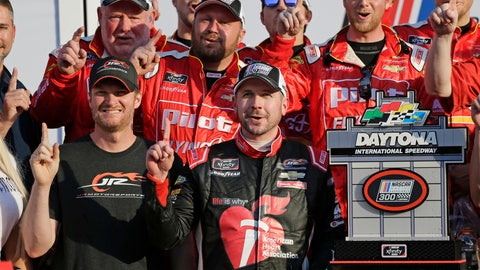<p>               Team owner, Dale Earnhardt Jr., front left, celebrate with NASCAR Xfinity series auto race winner Michael Annett, center front, at Daytona International Speedway, Saturday, Feb. 16, 2019, in Daytona Beach, Fla. (AP Photo/Terry Renna)             </p>