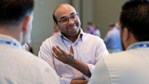 <p>               FILE - In this Nov. 11, 2015, file photo, then-Los Angeles Dodgers general manager Farhan Zaidi speaks to reporters at the baseball general managers' meetings in Boca Raton, Fla. The San Francisco Giants have had a quiet offseason, aside of course from acquiring new president of baseball operations Farhan Zaidi from the rival and six-time defending division champion Dodgers and challenging him with getting this proud franchise back into contention.  (AP Photo/Wilfredo Lee, File)             </p>