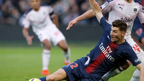 <p>               Bordeaux's Nicolas De Preville fouls PSG's Thomas Meunier during the French League One soccer match between Paris Saint-Germain and Bordeaux at the Parc des Princes stadium in Paris, Saturday, Feb. 9, 2019. (AP Photo/Christophe Ena)             </p>
