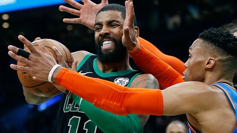<p>               Oklahoma City Thunder's Russell Westbrook, right, defends against Boston Celtics' Kyrie Irving, left, during the first half of an NBA basketball game in Boston, Sunday, Feb. 3, 2019. (AP Photo/Michael Dwyer)             </p>