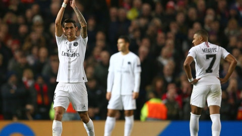 <p>               Paris Saint Germain's Angel Di Maria applauds his teams fans as he is substituted during the Champions League round of 16 soccer match between Manchester United and Paris Saint Germain at Old Trafford stadium in Manchester, England, Tuesday, Feb. 12,2019.(AP Photo/Dave Thompson)             </p>