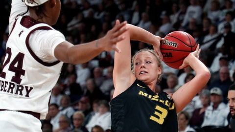 <p>               Missouri guard Sophie Cunningham (3) is defended by Mississippi State guard Jordan Danberry (24) during the second half of an NCAA college basketball game Thursday, Feb. 14, 2019, in Starkville, Miss. Missouri won 75-67. (AP Photo/Rogelio V. Solis)             </p>