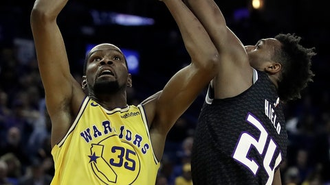 <p>               Golden State Warriors' Kevin Durant (35) shoots against Sacramento Kings' Buddy Hield, right, during the second half of an NBA basketball game Thursday, Feb. 21, 2019, in Oakland, Calif. (AP Photo/Ben Margot)             </p>