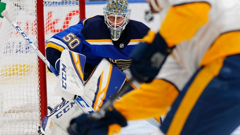 <p>               St. Louis Blues' goalie Jordan Binnington (50) defends the goal against the Nashville Predators during the first period of an NHL hockey game Tuesday, Feb. 26, 2019, in St. Louis. (AP Photo/Dilip Vishwanat)             </p>