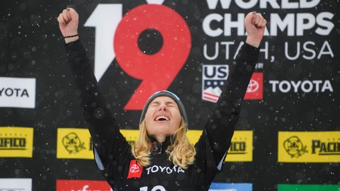 <p>               Gold medalist Selina Joerg of Germany celebrates after winning the women's snowboard parallel giant slalom event at the freestyle ski and snowboard world championships, Monday, Feb. 4, 2019, in Park City, Utah. (AP Photo/Alex Goodlett)             </p>