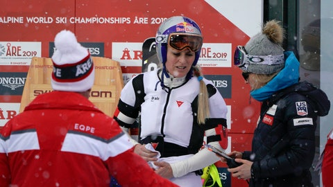 <p>               In this photo taken on Feb. 8, 2019, Lindsey Vonn wears an airbag in Are. Lindsey Vonn has been getting plenty of use out of an air bag safety device that she wears under her racing suit. Developed by Italian manufacturer Dainese, the D-air Ski system fits into a vest around Vonn's upper body and is programmed to inflate during crashes. (AP Photo/Giovanni Auletta)             </p>