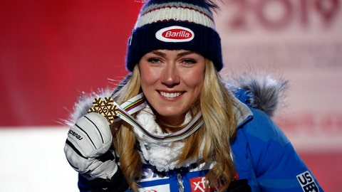 <p>               United States' Mikaela Shiffrin poses with her gold medal of the women's super-G, at the alpine ski World Championships in Are, Sweden, Tuesday, Feb. 5, 2019. (AP Photo/Gabriele Facciotti)             </p>