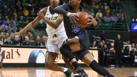 <p>               TCU guard Jayde Woods, right, drives toward the basket past Baylor guard DiDi Richards, left, in the first half of an NCAA college basketball game, Saturday, Feb. 9, 2019, in Waco, Texas. (AP Photo/Rod Aydelotte)             </p>