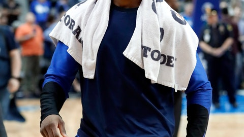 <p>               Dallas Mavericks' Harrison Barnes walks off the court after the team's NBA basketball game against the Charlotte Hornets in Dallas, Wednesday, Feb. 6, 2019. Barnes was traded during the game to the Sacramento Kings for Zach Randolph and Justin Jackson. (AP Photo/Tony Gutierrez)             </p>