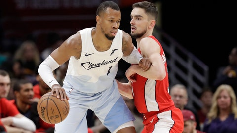 <p>               FILE- In this Jan. 29, 2019, file photo Cleveland Cavaliers' Rodney Hood, left, drives past Washington Wizards' Tomas Satoransky, from Czech Republic, in the second half of an NBA basketball game in Cleveland. The Cavaliers traded Hood to the Portland Trail Blazers. In exchange for Hood, Cleveland received guards Nik Stauskas and Wade Baldwin and a second-round pick in 2021 and 2023. The teams agreed to the deal on Sunday and completed their trade conference call with the NBA on Monday, Feb. 4. (AP Photo/Tony Dejak, File)             </p>