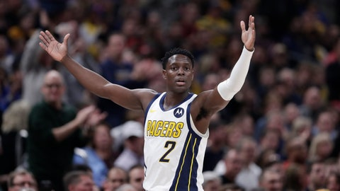 <p>               Indiana Pacers guard Darren Collison (2) celebrates during the first half of an NBA basketball game against the Los Angeles Lakers in Indianapolis, Tuesday, Feb. 5, 2019. (AP Photo/Michael Conroy)             </p>