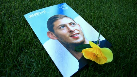 <p>               A view of the match day programme with an image of Emiliano Sala on the cover, ahead of the English Premier League soccer match between Cardiff and Bournemouth at the Cardiff City Stadium, in Cardiff, Wales, Saturday, Feb. 2, 2019. (Mark Kerton/PA via AP)             </p>