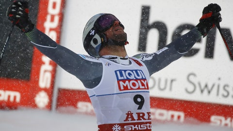 <p>               Norway's Aksel Lund Svindal reacts in the finish area after the men's downhill race, at the alpine ski World Championships in Are, Sweden, Saturday, Feb. 9, 2019. (AP Photo/Marco Trovati)             </p>