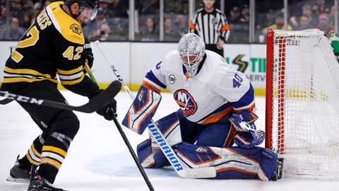 <p>               New York Islanders goaltender Robin Lehner (40) eyes the puck as Boston Bruins right wing David Backes (42) prepares to shoot during second period of an NHL hockey game in Boston, Tuesday, Feb. 5, 2019. (AP Photo/Charles Krupa)             </p>