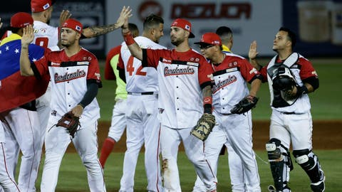 <p>               Venezuela's Cardenales de Lara celebrates at the end of the ninth inning after defeating Mexico's Los Charros de Jalisco on the opening day of the Caribbean Series baseball tournament at Rod Carew stadium in Panama City, Monday, Feb. 4, 2019. (AP Photo/Arnulfo Franco)             </p>