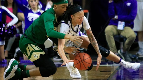 <p>               Baylor forward Aquira DeCosta, left, and Kansas State forward Jasauen Beard, right, dive for a loose ball during the second half of an NCAA college basketball game in Manhattan, Kan., Wednesday, Feb. 13, 2019. Baylor defeated Kansas State 71-48. (AP Photo/Orlin Wagner)             </p>