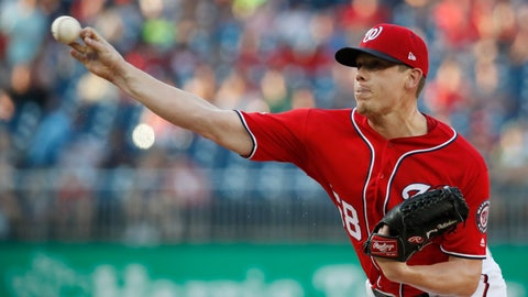 <p>               FILE - In this Saturday, Aug. 4, 2018 file photo, Washington Nationals starting pitcher Jeremy Hellickson throws during the first inning of the second baseball game of the team's doubleheader against the Cincinnati Reds at Nationals Park in Washington. A person familiar with the negotiations says that right-hander Jeremy Hellickson and the Washington Nationals have agreed in principle to a $1.3 million, one-year contract. The person spoke to The Associated Press on condition of anonymity Wednesday, Feb. 6, 2019 because the deal was subject to a successful physical exam. (AP Photo/Alex Brandon, File)             </p>