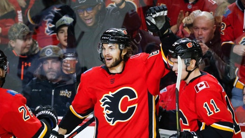 <p>               Calgary Flames' Michael Frolik, left, of the Czech Republic, celebrates his goal with teammate Mikael Backlund, of Sweden, during third period NHL hockey action against the Arizona Coyotes in Calgary, Alberta, Monday, Feb. 18, 2019. (Jeff McIntosh/The Canadian Press via AP)             </p>