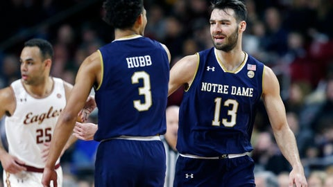 <p>               Notre Dame's Nikola Djogo (13) and Prentiss Hubb (3) celebrate a basket during the first half of an NCAA college basketball game against Boston College in Boston, Saturday, Feb. 2, 2019. (AP Photo/Michael Dwyer)             </p>