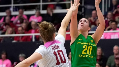 <p>               Oregon guard Sabrina Ionescu (20) shoots over Stanford forward Alyssa Jerome (10) during the first half of an NCAA college basketball game Sunday, Feb. 10, 2019, in Stanford, Calif. (AP Photo/Tony Avelar)             </p>