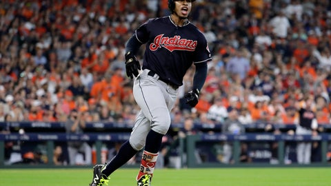 <p>               FILE - In this Oct. 6, 2018, file photo, Cleveland Indians' Francisco Lindor celebrates as he round the bases after hitting a solo home run against the Houston Astros during the third inning of Game 2 of a baseball American League Division Series, in Houston. The Indians All-Star shortstop will likely miss the start of the season with a strained right calf. Lindor, one of baseball's best all-around players, sustained the injury recently while working out in Orlando, Florida. He was checked Wednesday, Feb. 6, 2019, at the Cleveland Clinic by Dr. Mark Schickendantz, who confirmed a moderate sprain. (AP Photo/David J. Phillip, File)             </p>