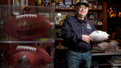 <p>               Don Crisman poses for a photo in his Kennebunk, Maine, home on Monday, Jan. 28, 2019, holding a Super Bowl LI ball signed by a few Patriots NFL football players. Crisman has never missed a Super Bowl and will be heading to Atlanta to watch his 53rd Super Bowl as the Patriots take on the Chiefs. (Gregory Rec/Portland Press Herald via AP)             </p>