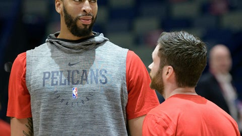 <p>               New Orleans Pelicans forward Anthony Davis (23) practices before an NBA basketball game against the Los Angeles Lakers in New Orleans, Saturday, Feb. 23, 2019. The Pelicans announced that Davis will be rested for the game and not play. (AP Photo/Matthew Hinton)             </p>