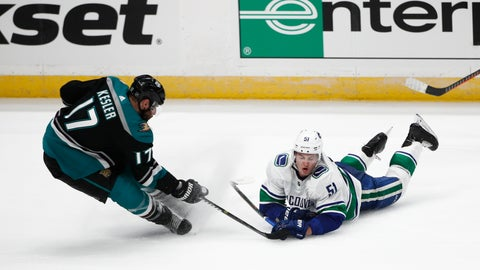 <p>               Vancouver Canucks' Troy Stecher, right, falls to the ice while competing for the puck with Anaheim Ducks' Ryan Kesler during the third period of an NHL hockey game Wednesday, Feb. 13, 2019, in Anaheim, Calif. The Ducks won 1-0. (AP Photo/Jae C. Hong)             </p>