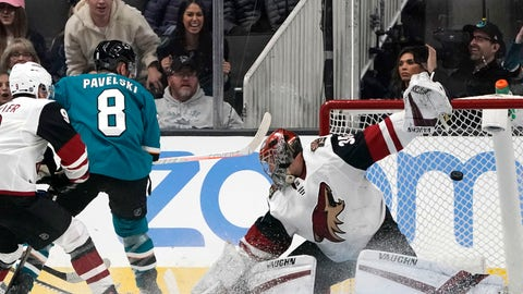 <p>               San Jose Sharks center Joe Pavelski (8) scores a goal past Arizona Coyotes goaltender Darcy Kuemper during the second period of an NHL hockey game in San Jose, Calif., Saturday, Feb. 2, 2019. (AP Photo/Tony Avelar)             </p>