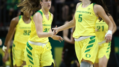 <p>               Oregon's Sabrina Ionescu, front left, congratulates Maite Cazorla, right, at the end of the second quarter against Utah in an NCAA college basketball game Friday, Feb. 1, 2019, in Eugene, Ore. (AP Photo/Chris Pietsch)             </p>