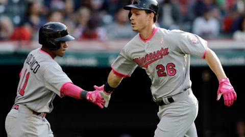 <p>               FILE- In this May 13, 2017, file photo, Minnesota Twins' Max Kepler (26) is congratulated by Jorge Polanco after hitting a solo home run off Cleveland Indians relief pitcher Dan Otero in the sixth inning of a baseball game, in Cleveland. The Twins have guaranteed their first financial commitment to a player beyond 2019, signing Kepler and Polanco to new five-year contracts with options to go longer as the front office tries to shape the core of a future contender. (AP Photo/Tony Dejak, File)             </p>
