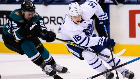 <p>               Toronto Maple Leafs right wing Mitchell Marner (16) drives past Anaheim Ducks centre Devin Shore (29) during second period NHL hockey action in Toronto on Monday, Feb. 4, 2019. (Nathan Denette/The Canadian Press via AP)             </p>