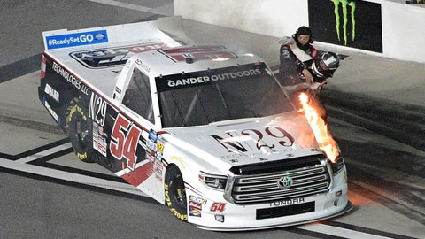 <p>               Natalie Decker (54) is helped out of her truck on pit road after it caught fire on the track during a NASCAR Truck Series race at Daytona International Speedway Friday, Feb. 15, 2019, in Daytona Beach, Fla. (AP Photo/Phelan M. Ebenhack)             </p>