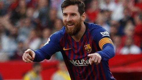 <p>               Barcelona forward Lionel Messi celebrates after scoring his side's second goal during La Liga soccer match between Sevilla and Barcelona at the Ramon Sanchez Pizjuan stadium in Seville, Spain. Saturday, February 23, 2019. (AP Photo/Miguel Morenatti)             </p>