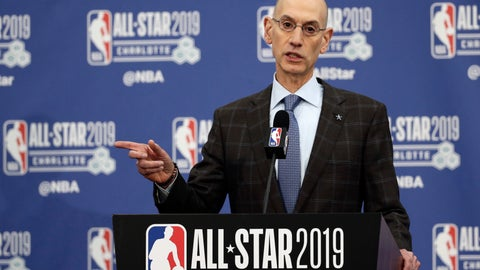 """<p>               FILE - In this Feb. 16, 2019, file photo, NBA Commissioner Adam Silver speaks during NBA All-Star festivities in Charlotte, N.C. A person with knowledge of the matter says that the NBA recently sent a proposal to the National Basketball Players Association about lowering the minimum age to enter the NBA Draft from 19 to 18, as the sides continuing moving toward eliminating the """"one-and-done"""" policy that has many elite players going to college for one season. (AP Photo/Gerry Broome, File)             </p>"""