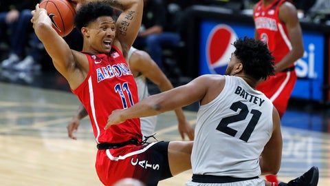 <p>               Arizona forward Ira Lee, left, pulls in a rebound as Colorado forward Evan Battey defend in the first half of an NCAA college basketball game Sunday, Feb. 17, 2019, in Boulder, Colo. (AP Photo/David Zalubowski)             </p>
