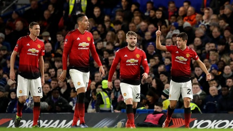<p>               Manchester United's Ander Herrera, right, celebrates with his teammates after scoring his side's opening goal during the English FA Cup fifth round soccer match between Chelsea and Manchester United at Stamford Bridge stadium in London, Monday, Feb. 18, 2019. (AP Photo/Matt Dunham)             </p>