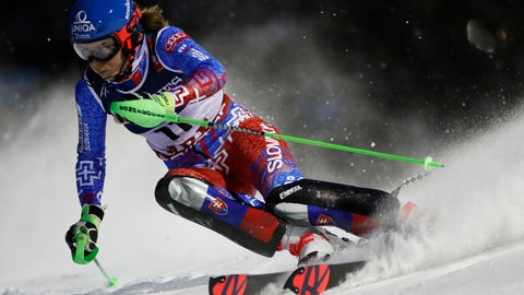 <p>               Petra Vlhova speeds down the course during the slalom portion of the women's combined, at the alpine ski World Championships in Are, Sweden, Friday, Feb. 8, 2019. (AP Photo/Gabriele Facciotti)             </p>