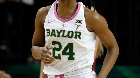<p>               Baylor guard Chloe Jackson (24) smiles as she jogs to the bench during a timeout after sinking a basket against Oklahoma during the first half of an NCAA college basketball game in Waco, Texas, Saturday, Feb. 16, 2019. (AP Photo/Tony Gutierrez)             </p>