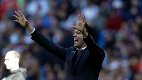 <p>               Real Madrid's head coach Santiago Solari shouts instructions during a La Liga soccer match between Real Madrid and Girona at the Bernabeu stadium in Madrid, Spain, Sunday, Feb. 17, 2019. (AP Photo/Andrea Comas)             </p>