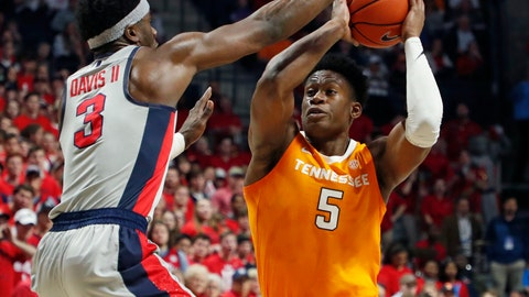 <p>               Tennessee guard Admiral Schofield (5) is jammed up by Mississippi guard Terence Davis (3) during the first half of an NCAA college basketball game in Oxford, Miss., Wednesday, Feb. 27, 2019. (AP Photo/Rogelio V. Solis)             </p>