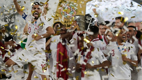 <p>               Qatar's forward Hasan Al Haydos, left, celebrates with teammates after winning the the AFC Asian Cup final match between Japan and Qatar in Zayed Sport City in Abu Dhabi, United Arab Emirates, Friday, Feb. 1, 2019. (AP Photo/Hassan Ammar)             </p>