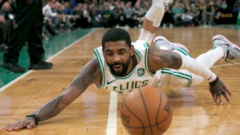 <p>               Boston Celtics guard Kyrie Irving dives after a loose ball during the second half of the team's NBA basketball game against the Portland Trail Blazers, Wednesday, Feb. 27, 2019, in Boston. (AP Photo/Mary Schwalm)             </p>
