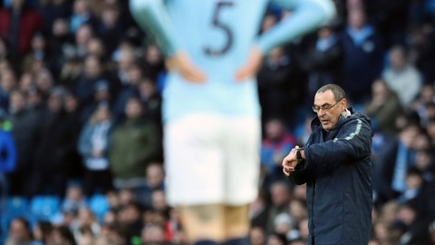 <p>               Chelsea manager Maurizio Sarri, right, reacts during the English Premier League soccer match between Manchester City and Chelsea at Etihad stadium in Manchester, England, Sunday, Feb. 10, 2019. (AP Photo/Jon Super)             </p>
