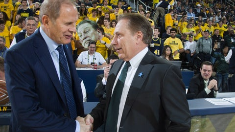 <p>               FILE - In this Feb. 7, 2017, file photo, Michigan head coach John Beilein, left, shakes hands with Michigan State head coach Tom Izzo before an NCAA college basketball game in Ann Arbor, Mich. Izzo and Beilein are friendly rivals, whose highly ranked teams will play for the first time this season on Sunday, Feb. 24, 2019, at Crisler Arena. As much as Beilein and Izzo genuinely like and respect each other, the highly competitive coaches want to win. (AP Photo/Tony Ding, File)             </p>